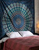 Blue Color Theme Queen Size Mandala Wall Tapestries Psychedelic Indian Tapestry Bedding Bohemian Wall Hanging Floral Print Bed Cover By Rajrang