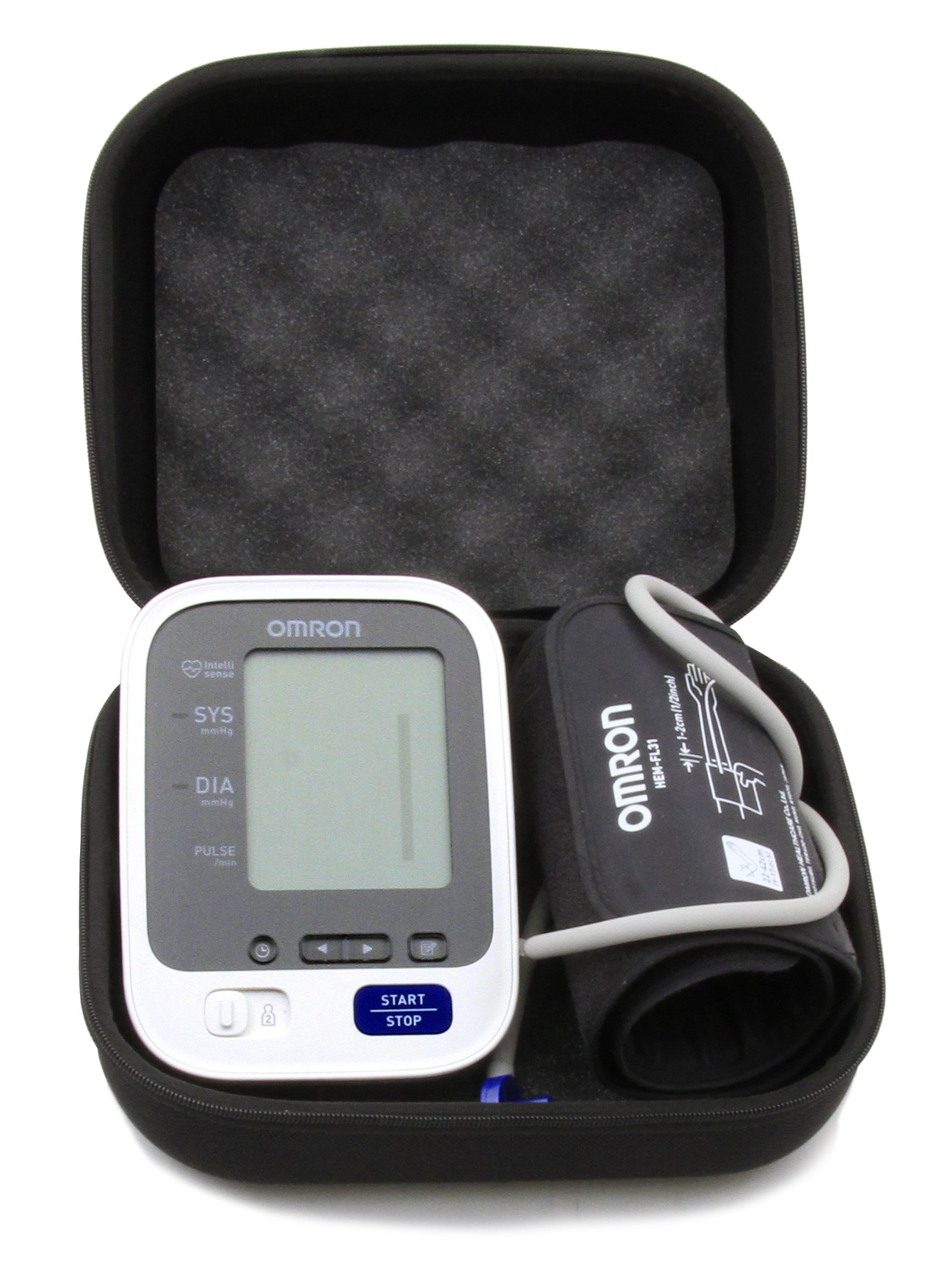 CASEMATIX Padded Travel Case For OMRON 7 Series Upper Arm Blood Pressure Monitor - Fits Monitor and Arm Cuff models BP761N , BP760N , BP761 , BP760
