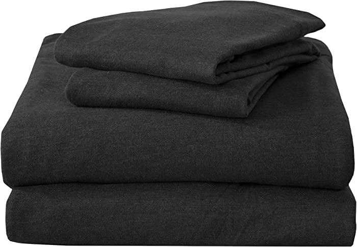 Twin Jersey Knit Sheets. All Season, Soft, Cozy Flannel Jersey T-Shirt Sheet Set. Cotton Blend Jersey Sheets. Cozy Flex Collection (Twin, Charcoal)