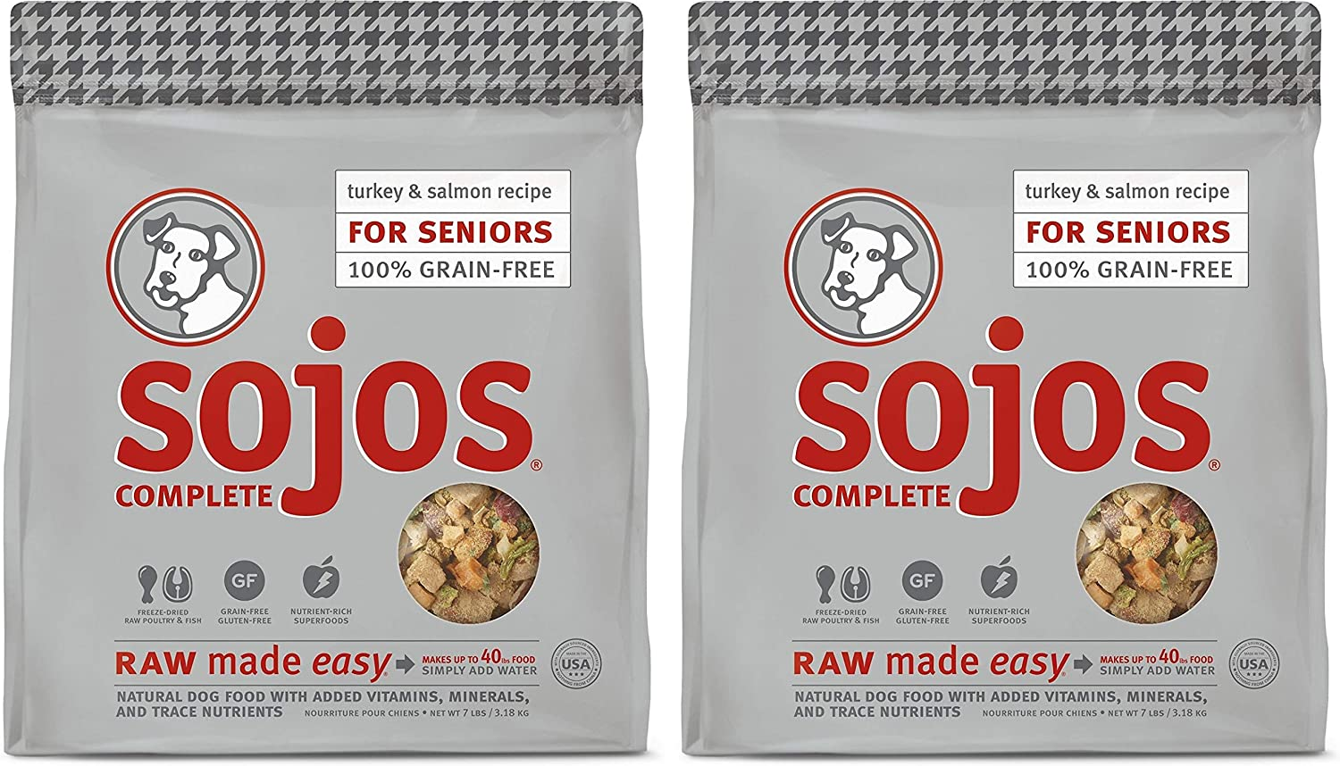 SOJOS 2 Pack of Turkey and Salmon Complete Raw Freeze-Dried Senior Dog Food, 7 Pounds Each, Grain- and Gluten-Free