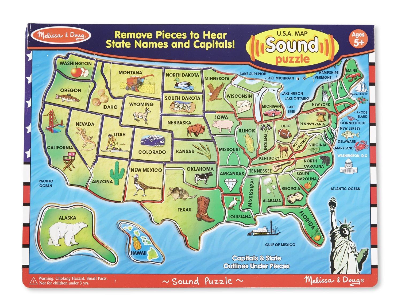 Amazoncom Melissa  Doug USA Map Sound Puzzle Wooden Puzzle - Us map online puzzle