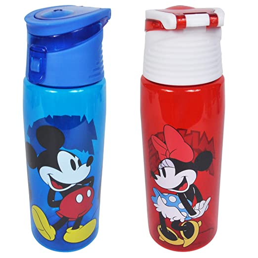 Disney 2 Pack Water Bottles Mickey & Minnie Mouse Tritan Hydro Flip Top Set