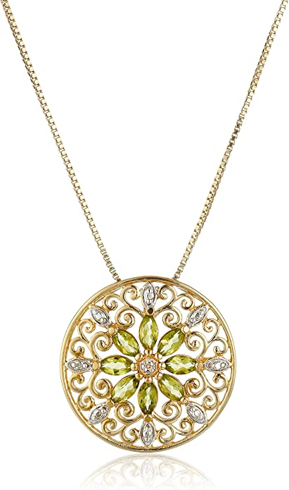 18k Gold Plated Gemstone and Diamond Accent Pendant