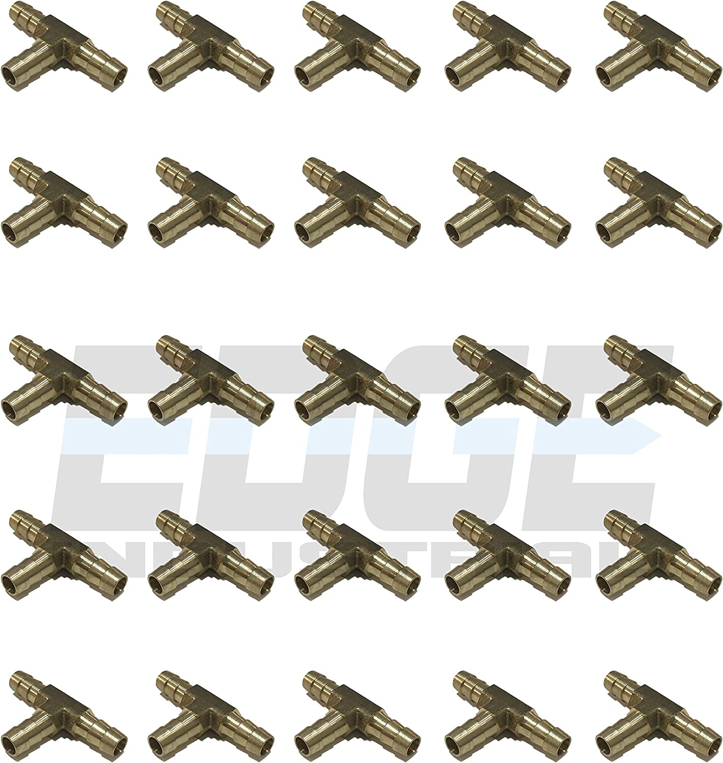 Gas WOG AIR Water Qty 25 Oil EDGE INDUSTRIAL 5//16 Hose ID Brass Hose Barb TEE SPLICER Fitting Fuel