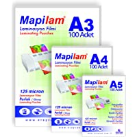 Mapilam 125 Micron A5 Laminasyon Filmi, Şeffaf, 216 X 155 Mm