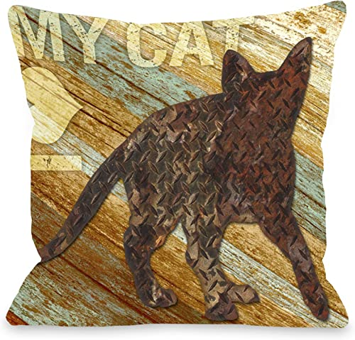 One Bella Casa I Love My Cat Wood Throw Pillow, 16 by 16-Inch