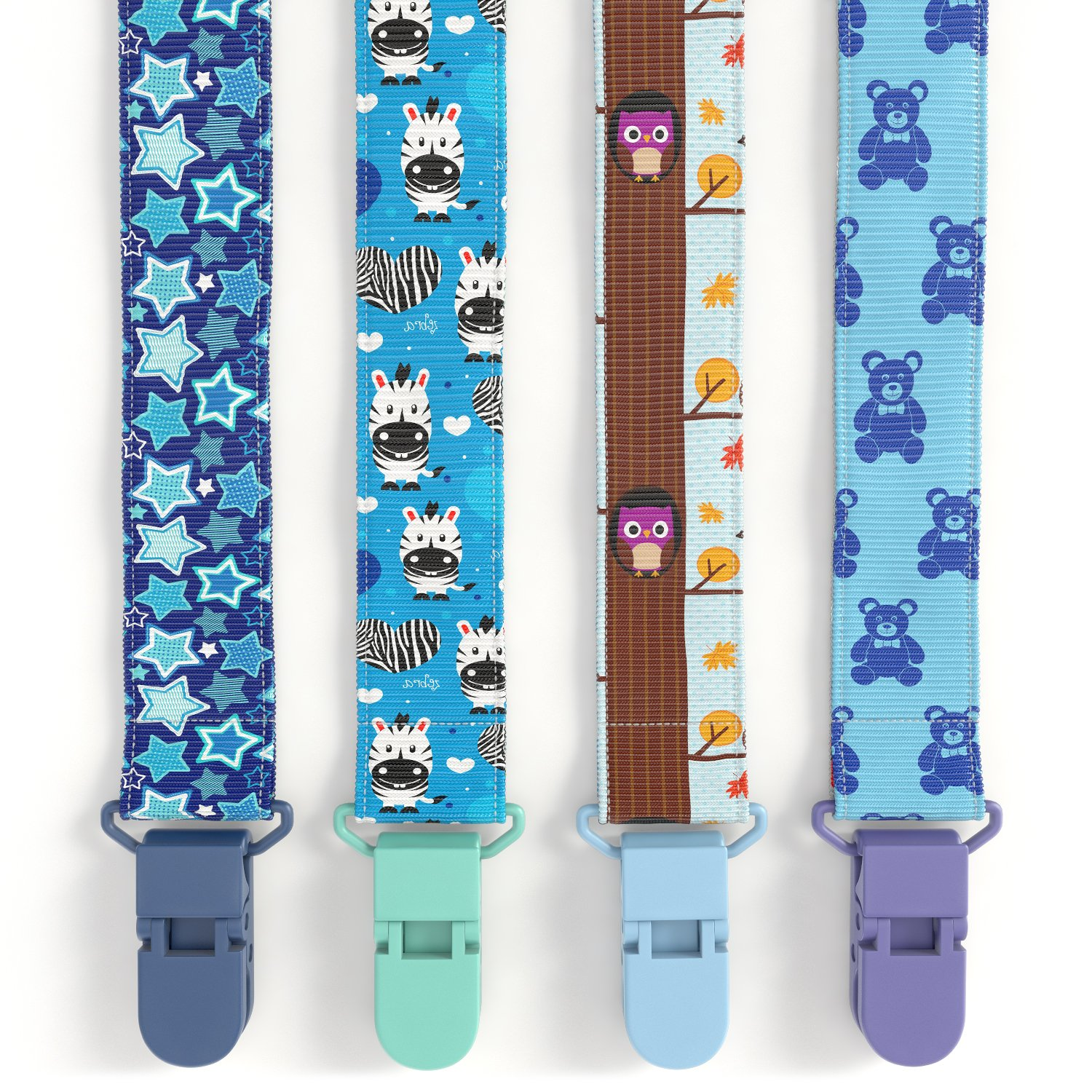 Premium Quality Baby Pacifier Clip (4 Pack) for Boys and Girls! . Fun and Cute ,Extra Safe, Double-sided Baby Pacifier Leash Designs. Glogex
