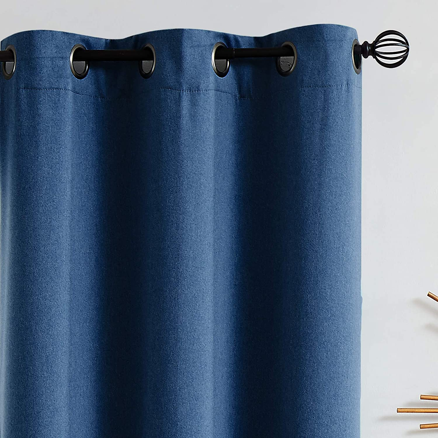 "Fmfunctex Bedroom Full Blackout Curtains 84 inches Long Navy Blue Window Curtain Drapes for Living Room Guest Nursery Baby Men Energy Efficient Curtain Panels for Dorm 52"" w x 2 Panels Grommet Top"