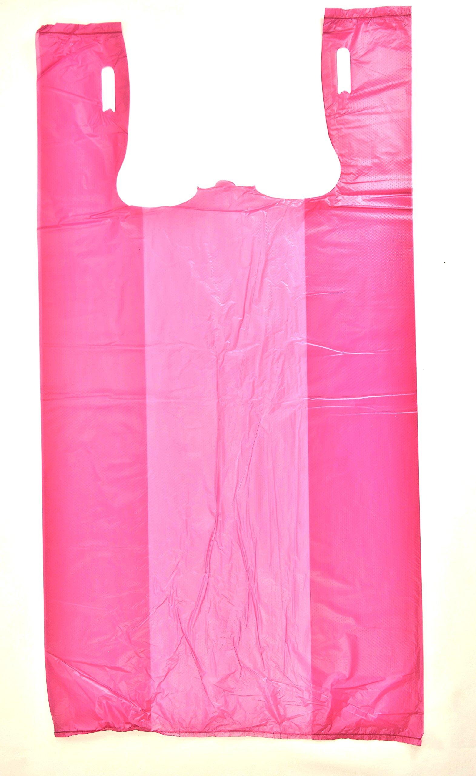 Plastic Bag Plain Embossed T-Shirt Bag 11.5''x6.5''x 21.5'' 13 mic - 1000 bags/case (6000, Burgandy)