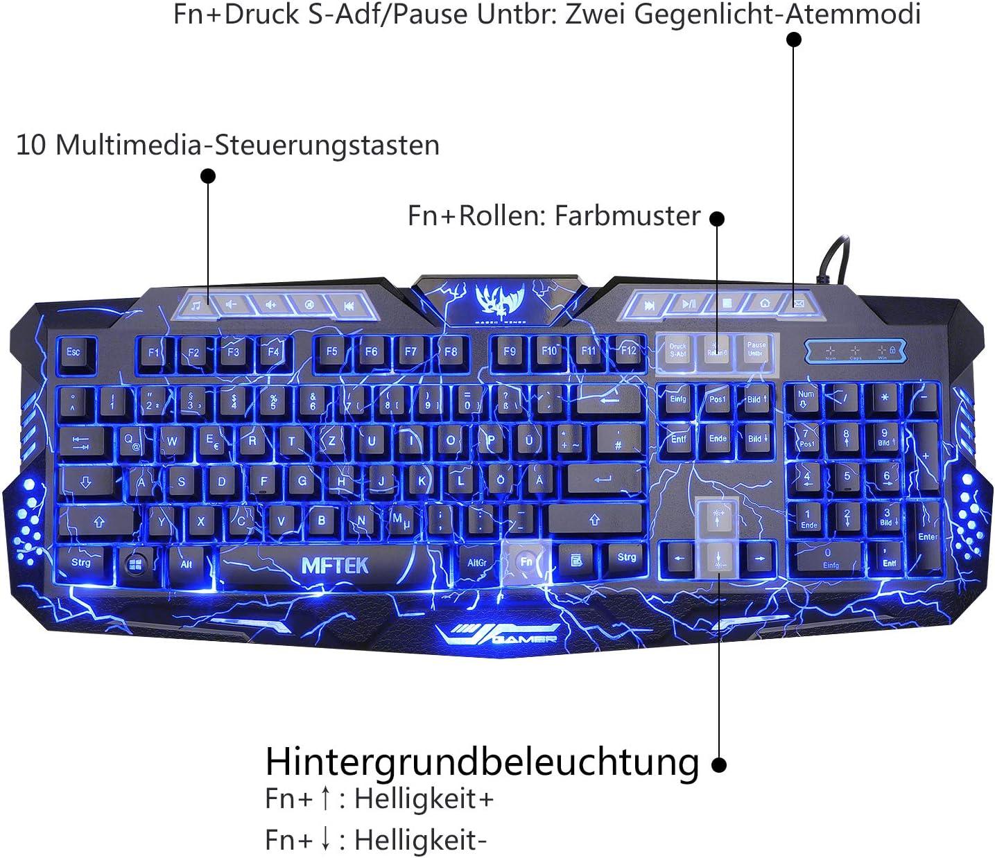 mftek USB Crack Azul LED Backlit Luminous illuminated Gaming Teclado y Ratón Set para Laptop Desktop Gamers with mouse pad (13 inch * 9 inch) negro ...