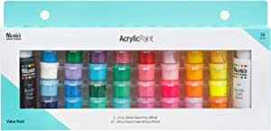 Acrylic Paint Pots Value Pack | All-Purpose, Water-Based, Non-Toxic Craft Paints | Ideal Paint for Crafts or Art Projects | Basic Paint Pots, Large Flip-Top Bottles of Black and White | 34 pieces
