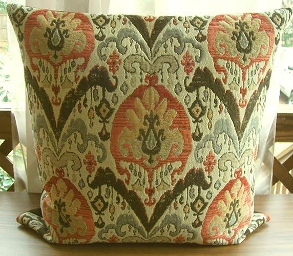 Amazon Com Handmade Orange And Brown Ikat Pillow Custom Large
