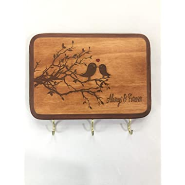 Artlery 5x7 Brown Always & Forever Sign Home Decor with Lovebirds Key Holder for Wall. Gift for Couple. Wedding Gift idea for Couple. Bridal Shower Gift idea. Housewarming Gift for Couple.