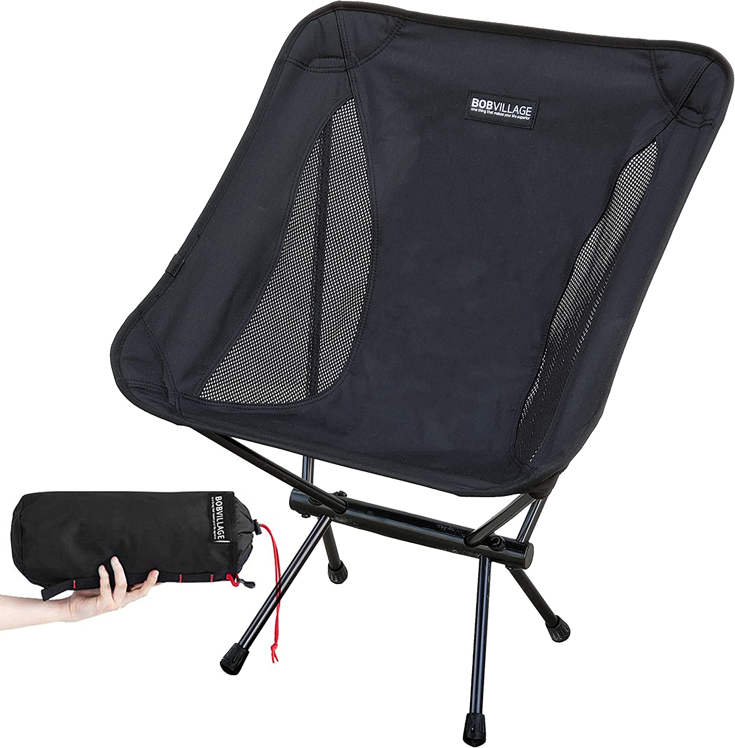 BOBVILLAGE Ultra-Light Folding Camping Chair, Cordura Fabric, Portable Compact Lawn Stool for Beach Travel Hiking Picnic Festival and All Outdoor Activities