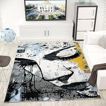 Kunstvoller Teppich Wohnzimmer Trauriges Frauen Gesicht Grau Blau ...