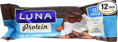 Amazon Com Luna Protein Gluten Free Protein Bar Chocolate Coconut Almond 1 59 Ounce Snack Bar 12 Count Health Personal Care