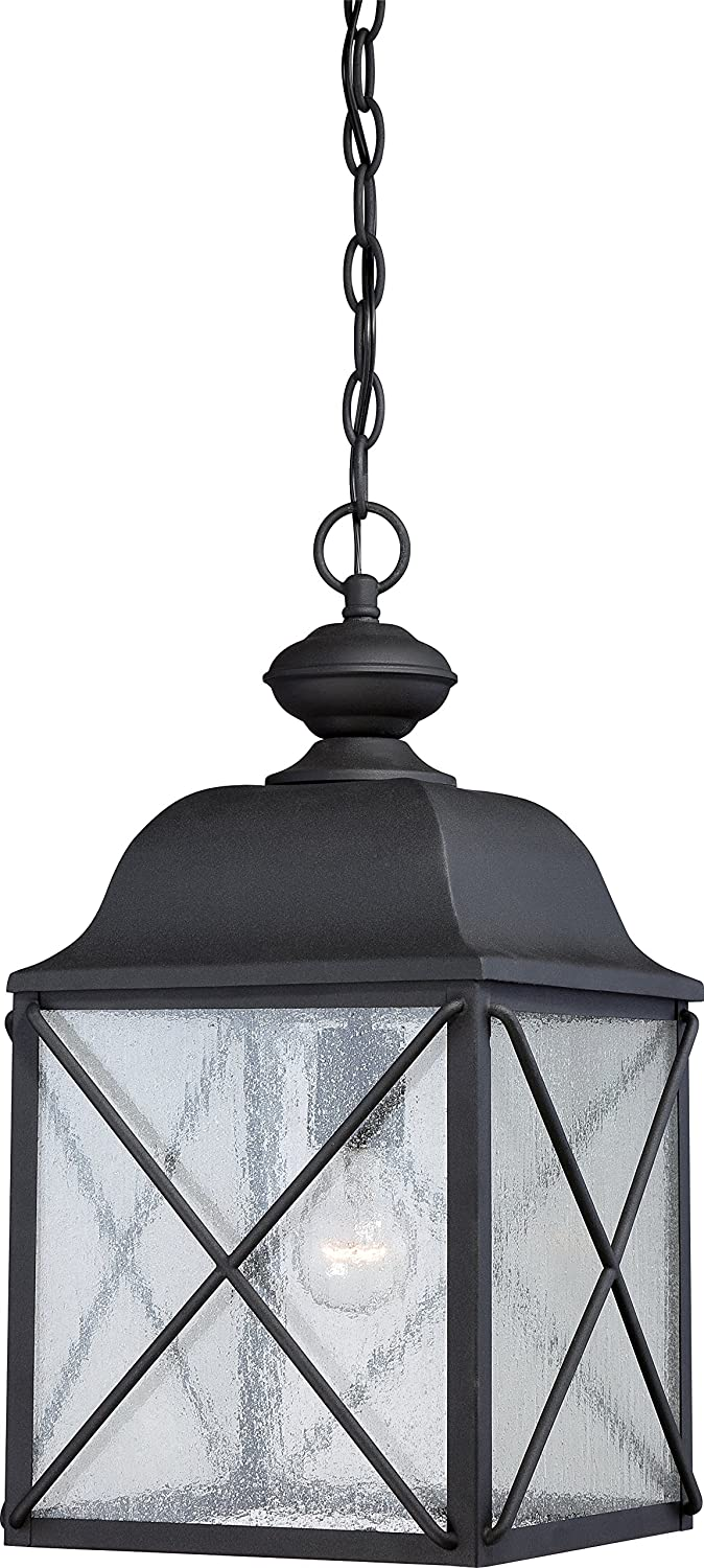 Nuvo lighting 605624 wingate hanging one light lantern 100 watt nuvo lighting 605624 wingate hanging one light lantern 100 watt outdoor pendant porch and patio lighting with clear seeded glass textured black aloadofball Choice Image