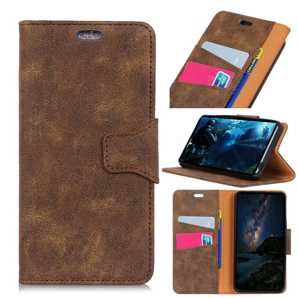 Scheam Huawei Honor V9 Play Case Cover, Back Shell Leather cover Anti-Scratch Wallet Case [Card Pocket] Protective Shell Armor Hybrid Shockproof Rubber Bumper Cover Card Slot Holder - Brown