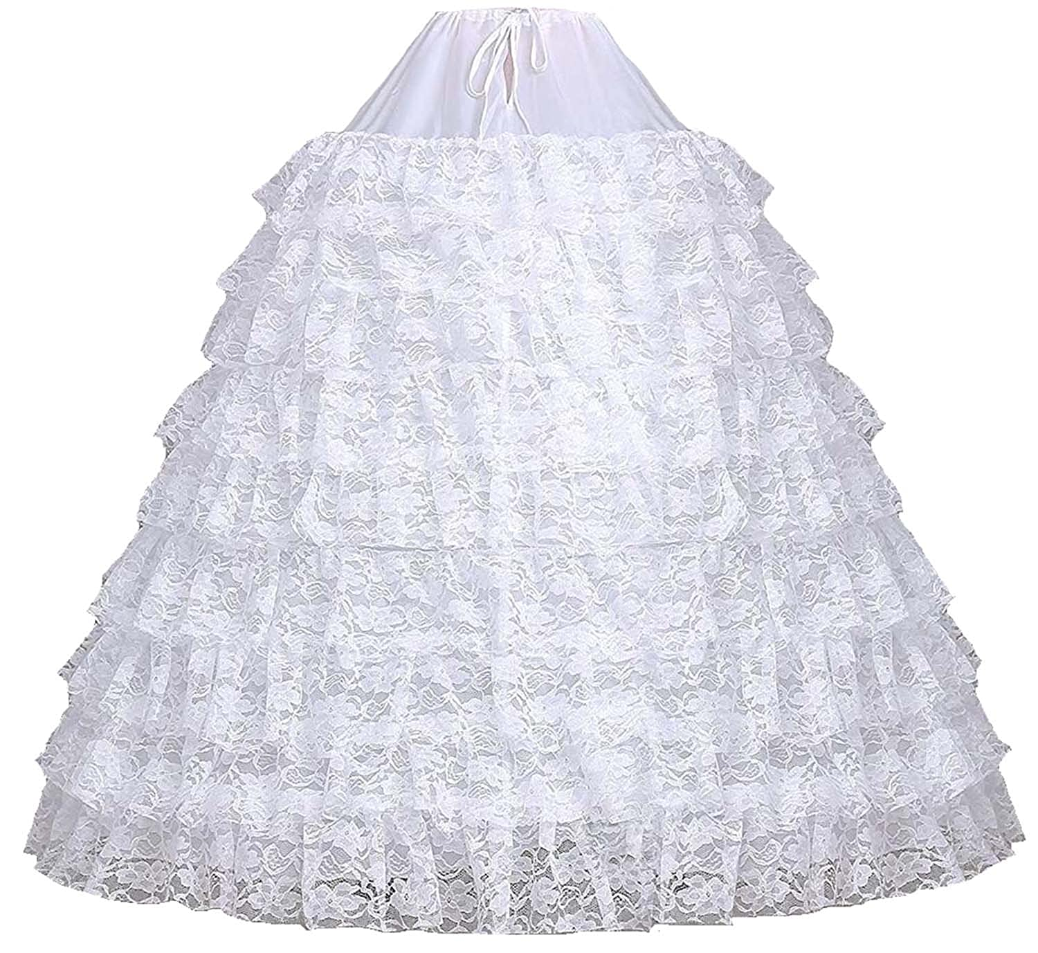 low-cost V.C.Formark Hoops Skirt Lace Bridal Petticoat White ...