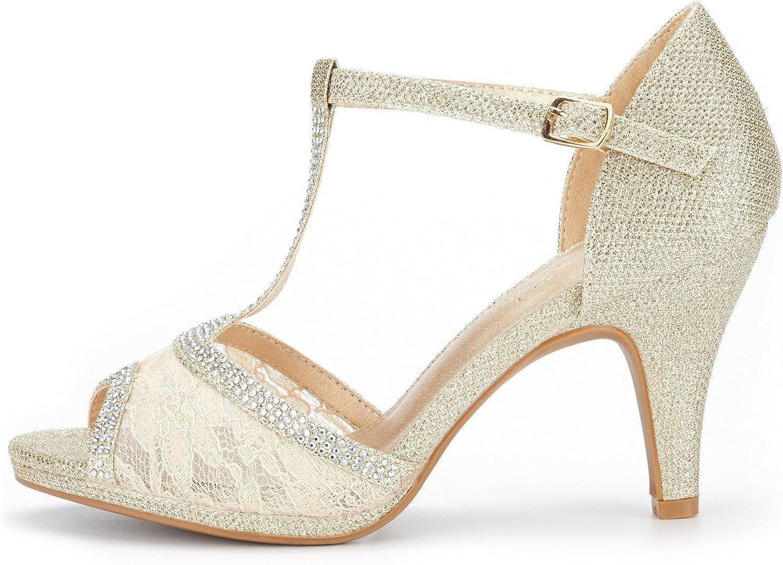 DREAM PAIRS Womens Amore Fashion Stilettos Open Toe Pump Heel Sandals