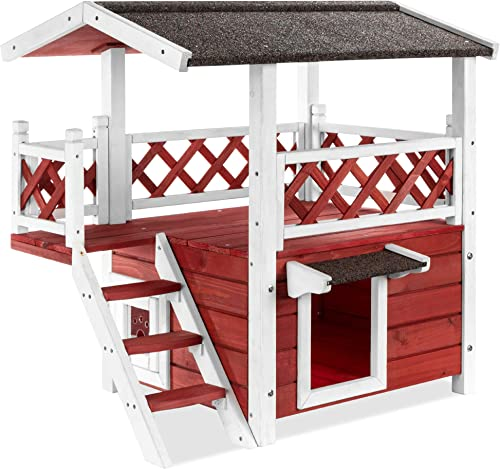 Best Choice Products 2 Story Fir Wood All-Weather Pet House for Indoor, Outdoor w Stairs, Asphalt Roof, Raised Bottom