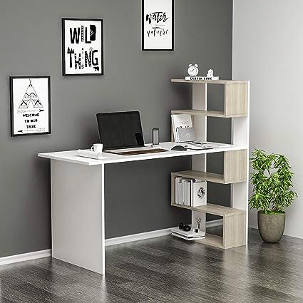 Deluxe Scrivania Scrivania Per Computer Scrivania Ufficio Portapc Tavolo Per Computer Con Mensola Bianco Avola Amazon It Casa E Cucina