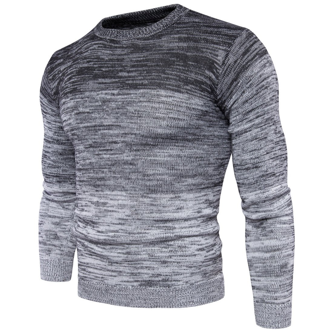 Siundddkw Winter Mens Boys Fine Novelty Long Sleeve Stylish Stripe Knitted Pullover Slim Jumper Knitwear Blouse (grey, M)