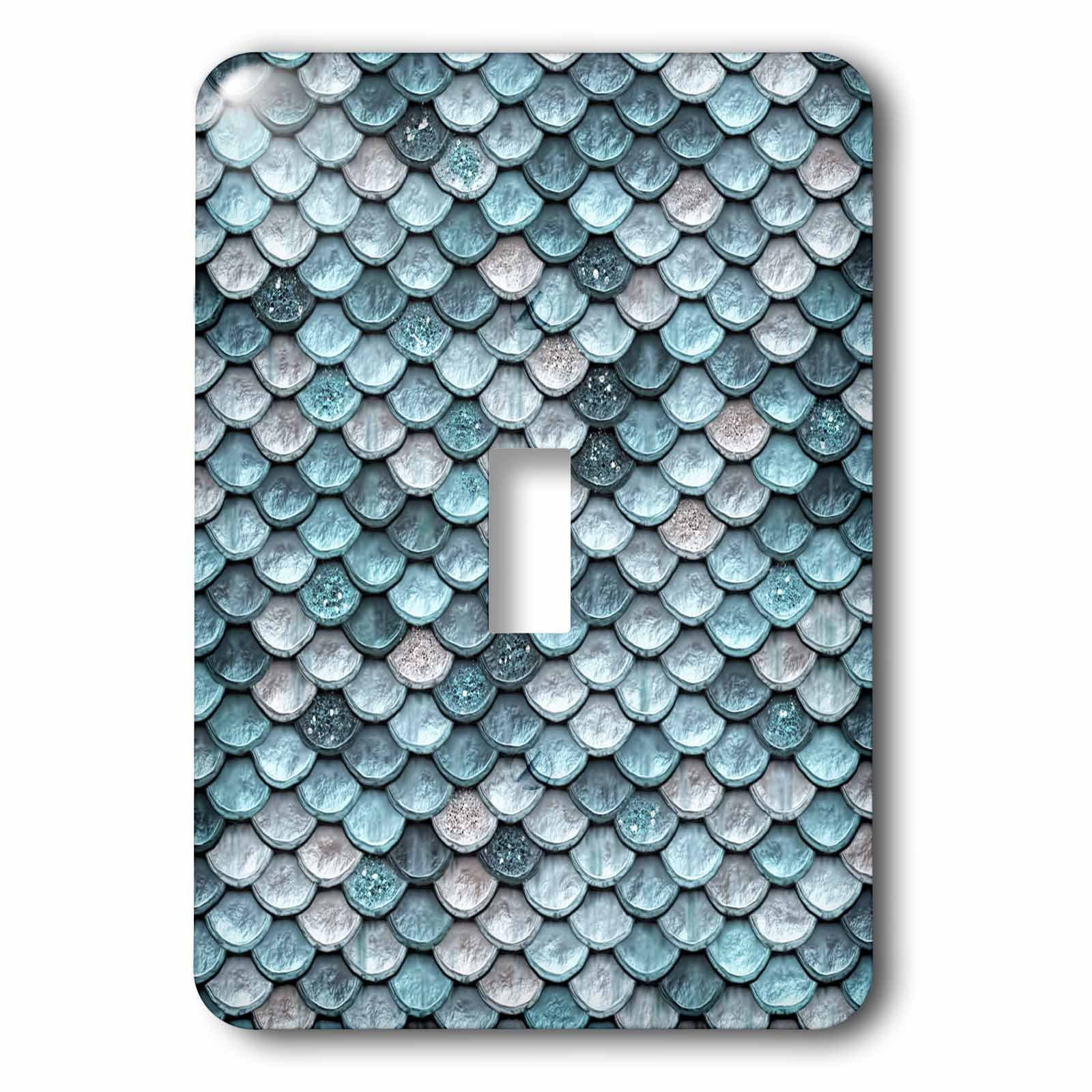 3dRose (lsp_267058_1) Single Toggle Switch (1) Sparkling Teal Luxury Elegant Mermaid Scales Glitter Effect Artprint