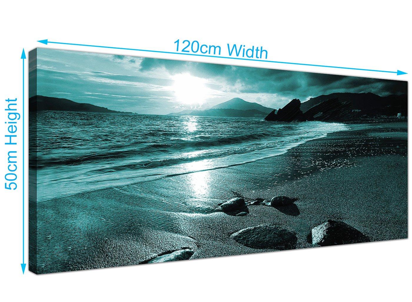 Amazon.de: Modern Blaugrün Leinwand Bilder of a Beach Sunset ...