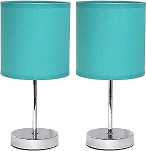 Simple Designs LT2007-BLU-2PK Chrome Mini Basic 2 Pack Fabric Shades Table Lamp Set, Blue