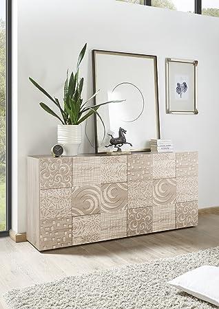 Arredocasagmb.it Mobile Sideboard 3 Türen Moderne Eiche Hell Tür Mit  Siebdruck Wohnzimmer Anrichte Buffet