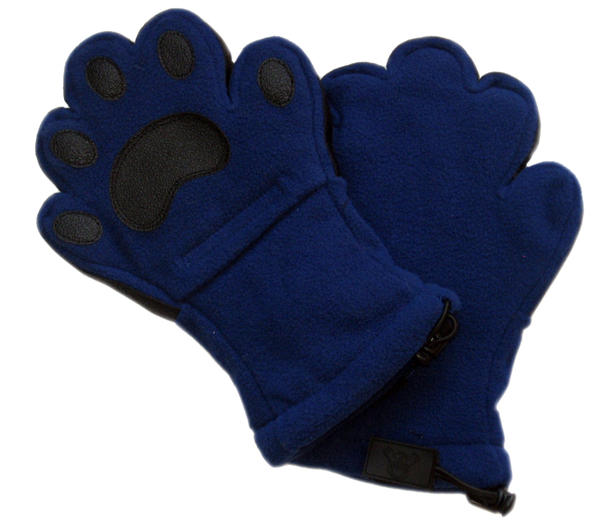 BearHands ThinsulateTM Fleece Mittens - with handy flap opening for when fingers are needed! (Adult Large) - Navy Blue