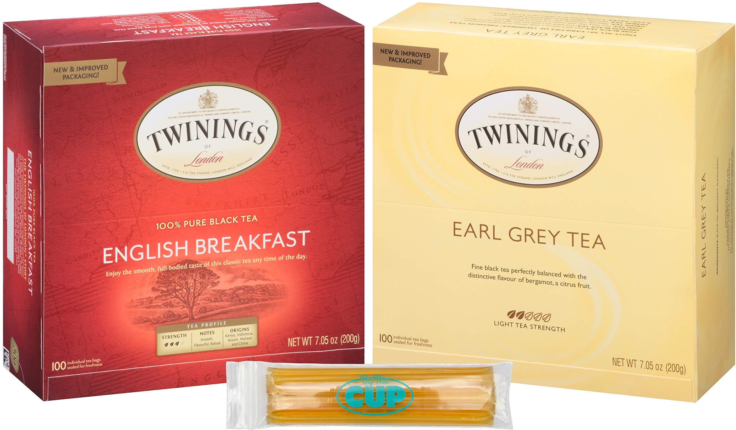Twinings Tea 2 Flavor Herbal Tea Variety Pack English Breakfast & Earl Grey Combo 100 Count Box of Each with By The Cup Honey Sticks