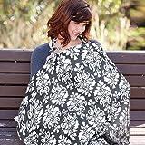 Nursing Cover, UHINOOS Lightweight Breathable 100% Cotton Breastfeeding Cover, Nursing Apron for Breastfeeding - Rigid Neckline, Full Coverage and Adjustable Strap