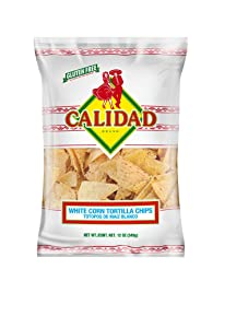 Calidad White Corn Tortilla Chips, Gluten Free, Trans Fat Free, Mexican Restaurant Style Chips, 12 oz