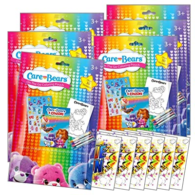 Coloring Pack Party Favors in Resealable Pouches Stickers, Crayons, and Coloring Activity Book, Bundle Includes Separately Licensed GWW Reward Stickers (Care Bears Pack of 6): Toys & Games