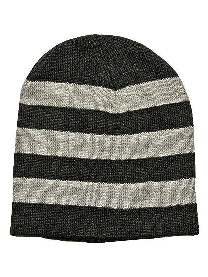 79bef6b70a2817 Luxury Divas Black & Gray Tight Fitting Striped Knit Beanie Cap at ...