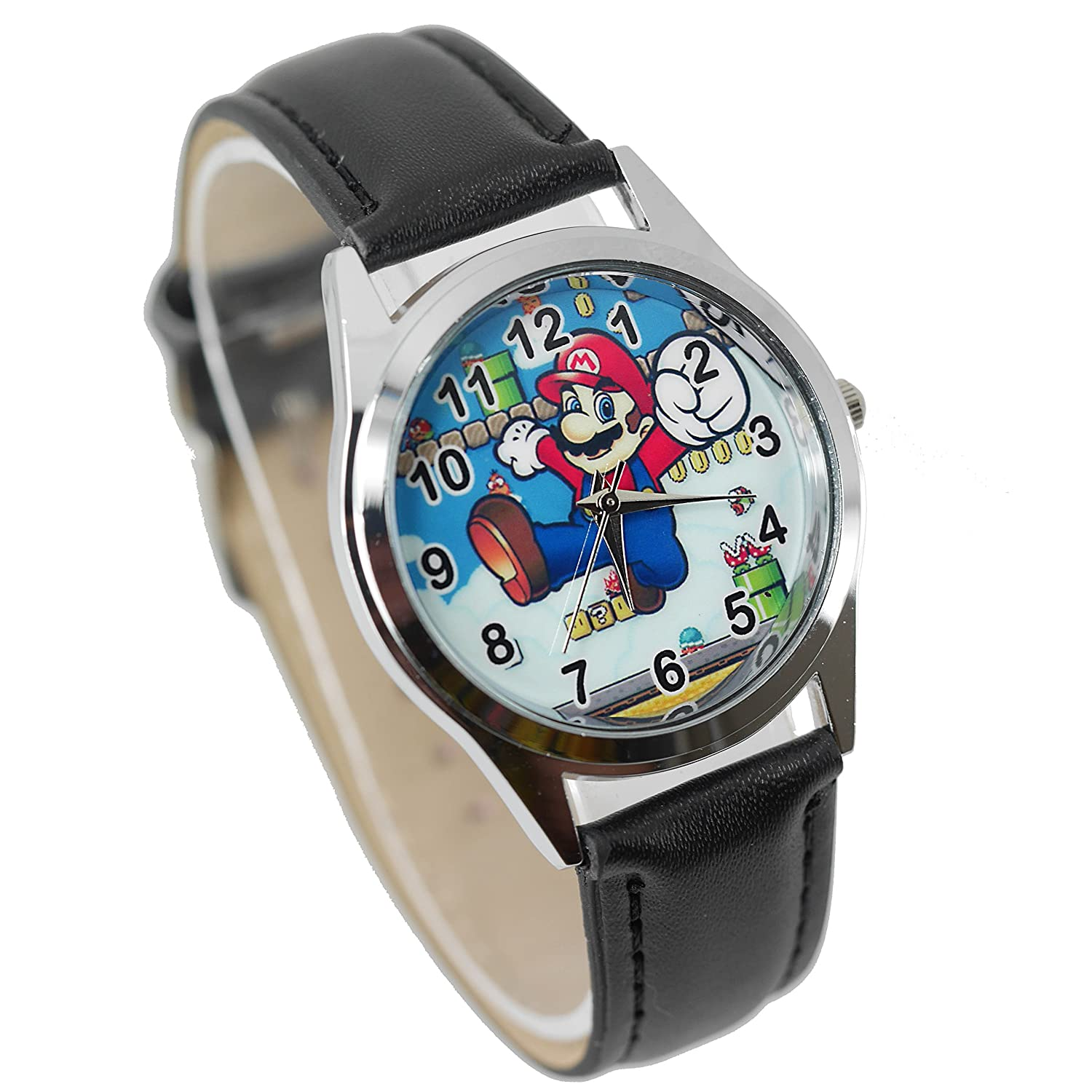Amazon.com: TAPORT Mario Quartz Watch Leather Band + Spare Battery + Gift Bag Black: Watches