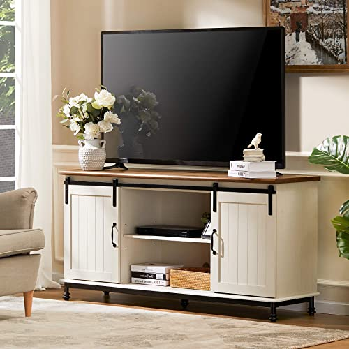 WAMPAT TV Stand Sliding Barn Door Modern Farmhouse Wood Console Entertainment Center