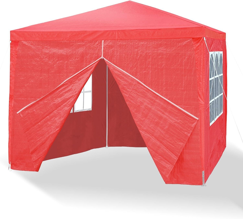 rosso barre di metallo con 4 pareti laterali giunzioni plastiche 3 finestre e 1 porta con chiusura lampo 3 x 3 m JOM 127136 Gazebo da giardino impermeabile con picchetti e corde di tensione materiale PE 110G