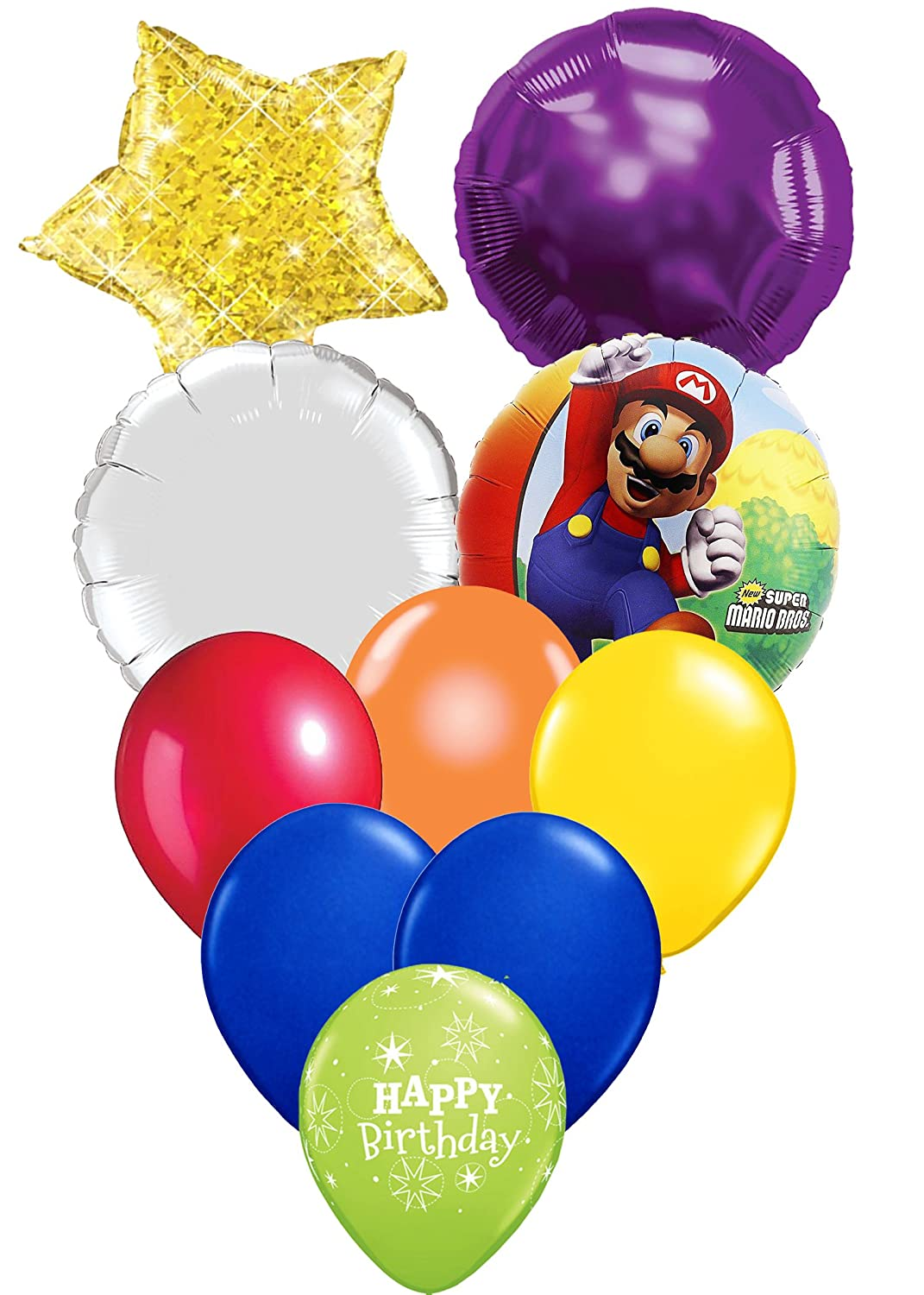 NEW Super Mario Brothers Birthday Party Favor Supplies Balloon Bouquet 5 Piece~