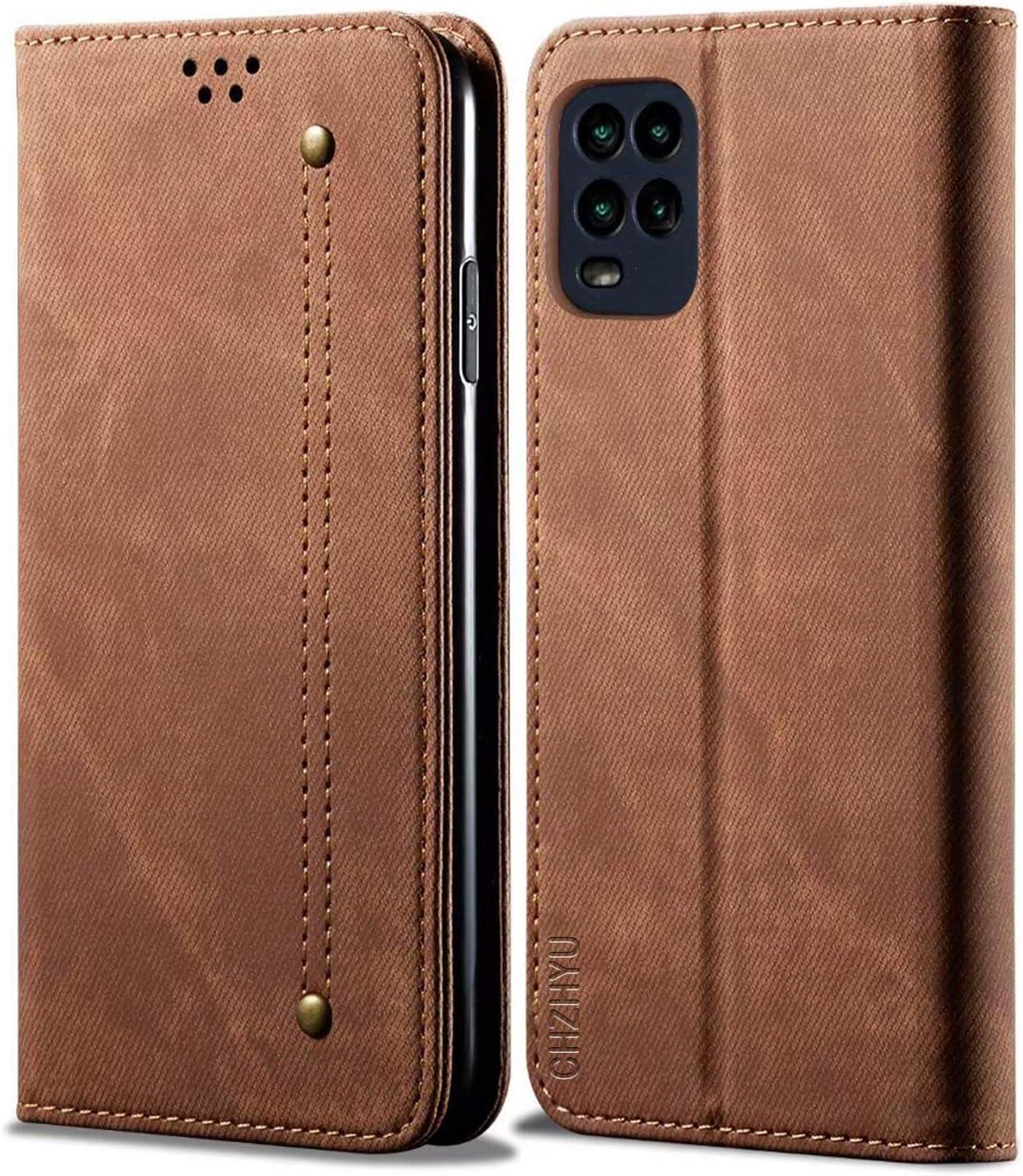 CHZHYU Funda para Xiaomi Mi 10 Lite 5G,Antigolpes Genuino Cuero Flip Folio Carcasa[Magnético][Soporte Plegable][Ranuras para Tarjetas] para Xiaomi Mi 10 Lite (Marrón)