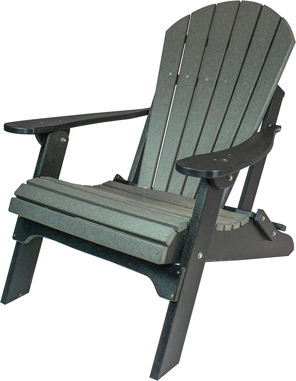 Amish Made Poly Folding Adirondack Chairs Slate on Black