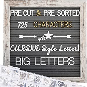 Rustic Wood Frame Felt Letter Board 10x10 inches, Pre Cut & Sorted 725 White & Gold Characters, Cursive Style Letters, Big Letters, Plastic Organizer, Picture Hangers, Wall Mount.