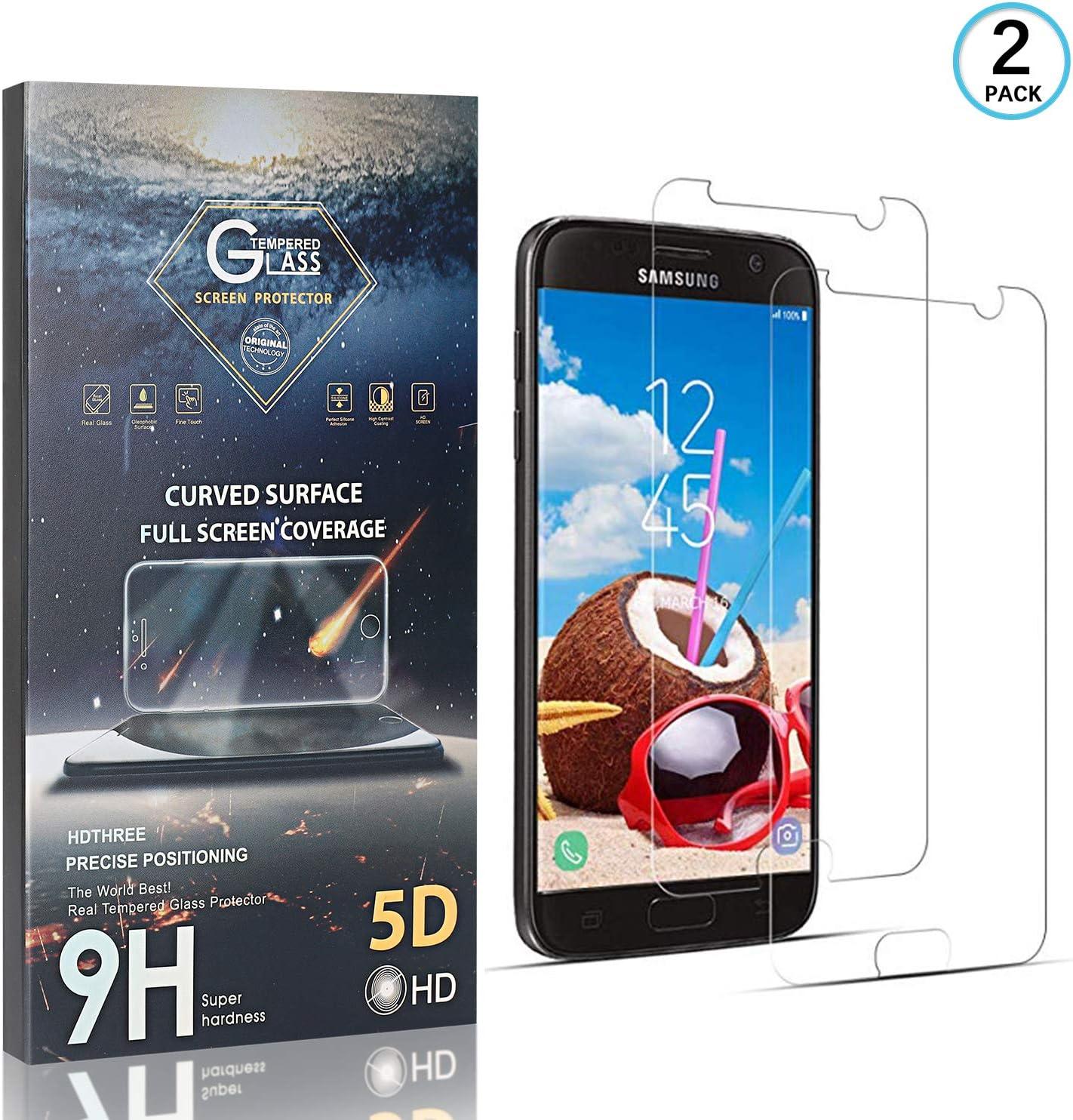 FCLTech Galaxy S7 Panzerglas Schutzfolie Ultra-Klar Displayschutz Panzerglas Schutzfolie kompatibel mit Samsung Galaxy S7 3D Vollst/ändige Abdeckung 2 St/ück 9H H/ärte