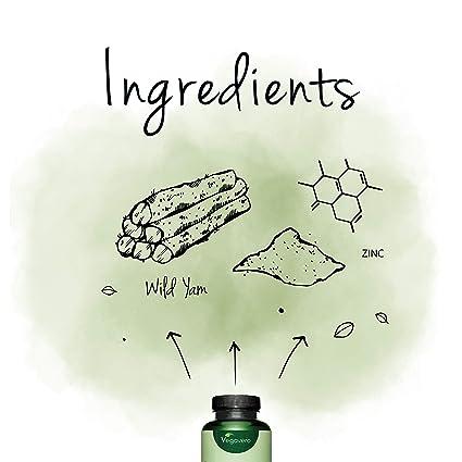 Wild Yam Vegavero® | Con ZINC + 6% Diosgenina | SIN ADITIVOS | Equilibrio Hormonal + Testosterona | Testado en Laboratorio | 120 Cápsulas