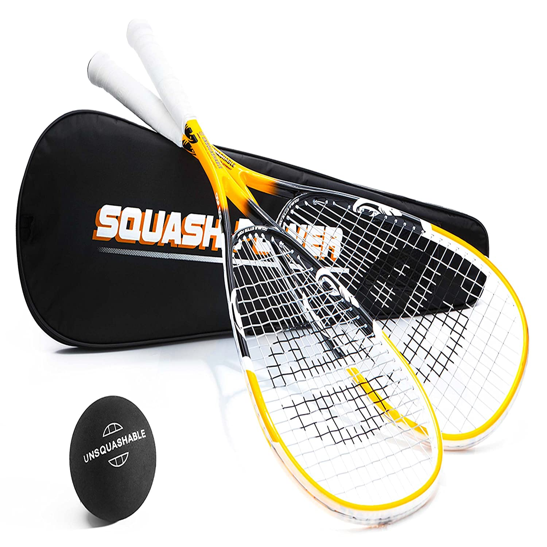 Unsquashable 2xDSP600 Squashschläger inkl. Squashball & Tasche ! schwarz/gelb