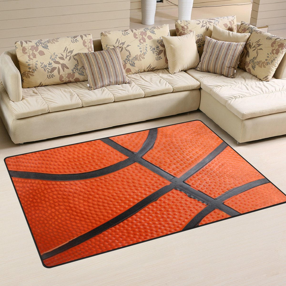 WOZO Basketball Skin Area Rug Rugs Non-Slip Floor Mat Doormats Living Room Bedroom 60 x 39 inches g2106592p146c161s241