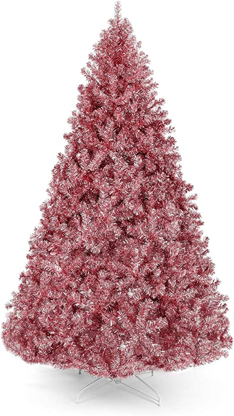 Amazon Com 6ft Rose Gold Artificial Tinsel Christmas Tree With Foldable Stand 1 477 Branch Tips Full Premium Tree Indoor Any Rooms Offices Festive Holiday Season Decoration Eco Friendly Material Easy To Set Up Home