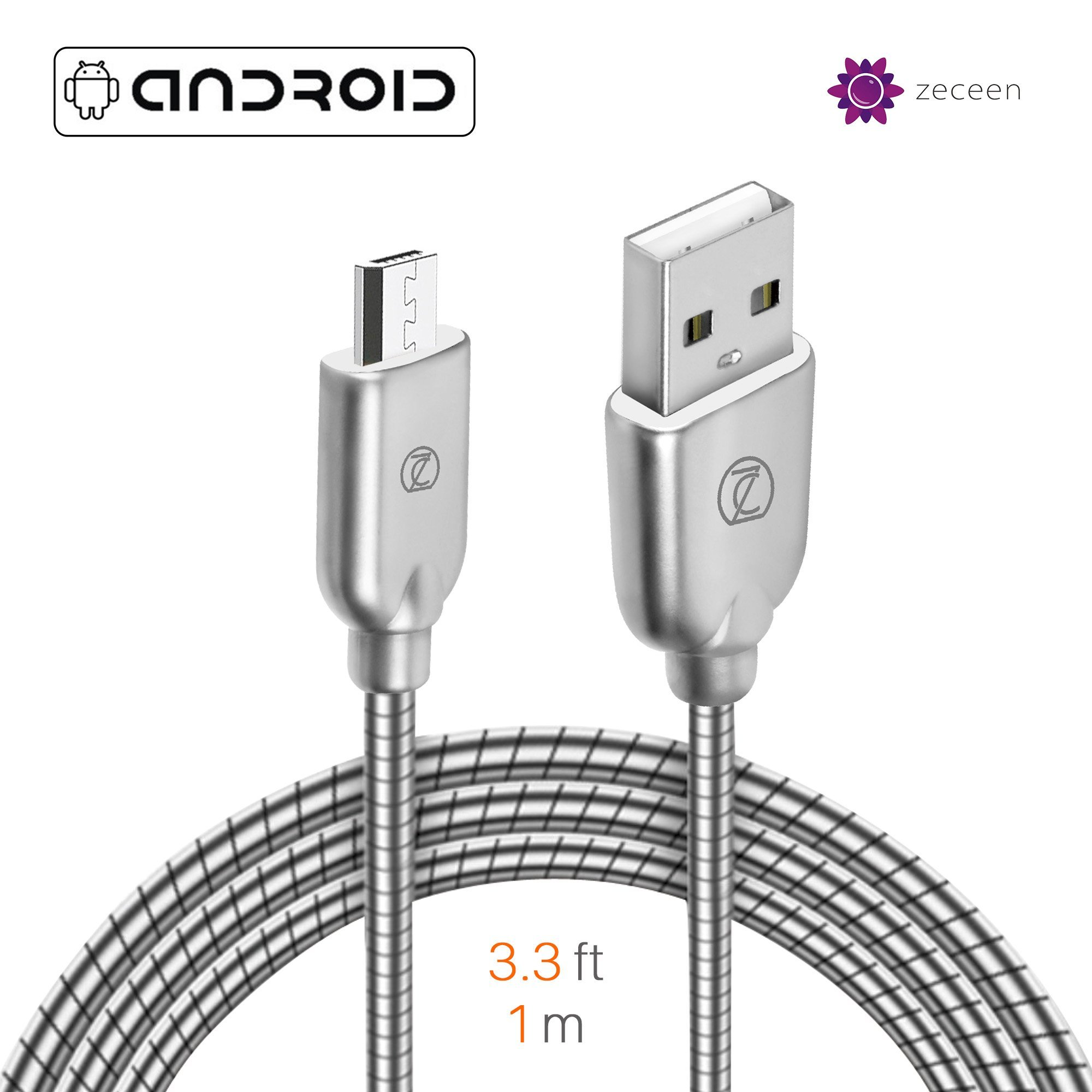 ZECEEN Metal Micro USB Cable – Fast Charging & Data Transfer Cord (3.3 ft) – Almost Unbreakable – Bending & Weather Resistant – Wide Compatibility with Android, Windows and other Devices